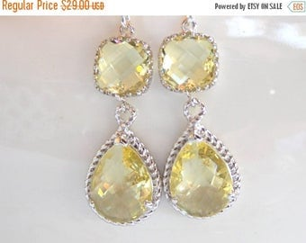 SALE Wedding Jewelry, Yellow Earrings, Silver, Soft Yellow, Light Yellow, Citrine, Bridesmaid Gift, Bridesmaid Jewelry, Dangle, Drop, Gifts,