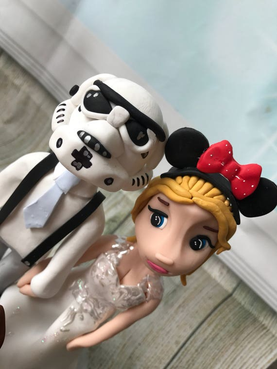 Fully personalised disney couple clay Wedding Cake Topper highly detailed and fully sculpted Keepsake - Bespoke Premium Service