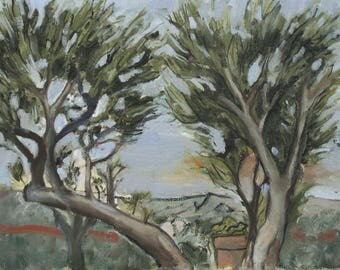 Leaning Cyprus Oil Painting 9x7