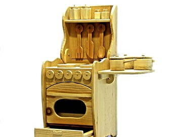 new wooden play kitchen with ven