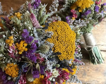 Rustic Wild Flower Bouquet. Dried Natural Wedding Flowers for Bride, Bridesmaid Flowergirl by Florence and Flowers. Wheat, Nigella, Lavender