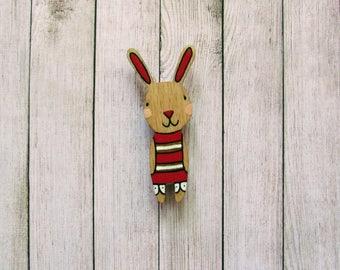 Handmade Wooden Rabbit Brooch Pin