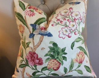 Handmade Decorative Pillow Cover - P Kaufman - Floral with Birds - Traditional - Damask - Pink - Green - Blue