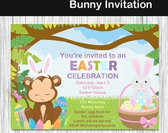 50% Off Easter Monkey and Bunny Invitation-Easter invitation-easter party-Easter Birthday invite-easter sweet-easter egg invite