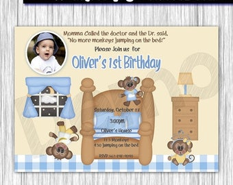 50% Off Monkeys Jumping on the Bed Invitation, Monkeys Invitation, Invitation Boys, Invitation Girl, Jumping Invitation, Bed, Invitation Mon