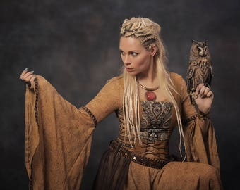 Medieval dress and top with sheep fur