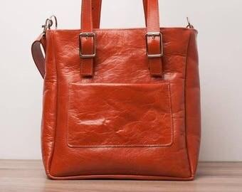 Leather handbag, leather bag, leather messenger bag - model Dumouchel of LOUBIER