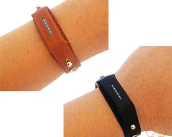 Fitbit Bracelet for Fitbit Flex 2 Fitness Activity Trackers - The Genuine Leather Crystal Studded Adjustable Buckle Bracelet - Black, Brown