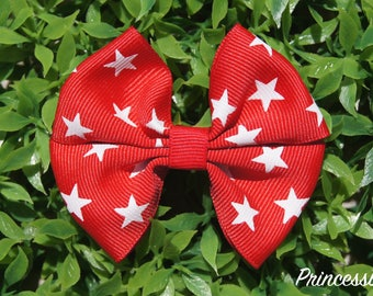 Cute red with stars hair bow,4th of july or every day hair bow