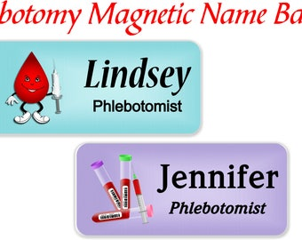 Phlebotomist Name Badge, Magnetic Name Badge, Nursing Name Tag, Blood Donor Clinic, Phlebotomy Name Tag, Medical ID Name Tag - PHLEBOTOMIST