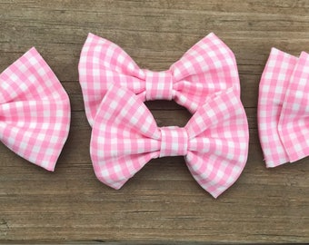 Gingham Girl/Pink and White Plaid/Bow/Headband/Hairclip/girls/baby/infant/teen/adult/hair