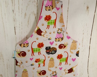 Sweater Cats Medium Knitting Tote Bag, knitting project bag, Reversible Knitting Tote sling bag, over the wrist bag  WTM0021
