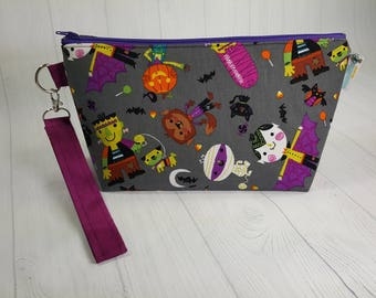 Halloween Friendly Monsters Small Knitting Project Bag, Zippered Wedge Bag, Zipper Knitting Bag, Cosmetic Bag, Sock Knitting Bag WS0053