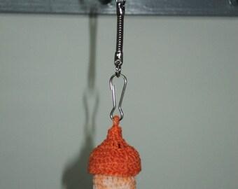 Keychain bottle crochet cotton Orange / Bronze