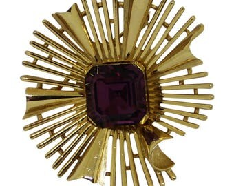 Trifari Modernist Style Gold Brooch/Pin Vintage 1960 Modernist Jewelry Trifari Jewelry Gold Pin Mad Men Style