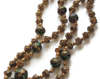Vintage Double Strand Necklace With Large Cloisonne Beads And Gold Bead Accents Boho Jewelry Asian Style Statement Jewelry