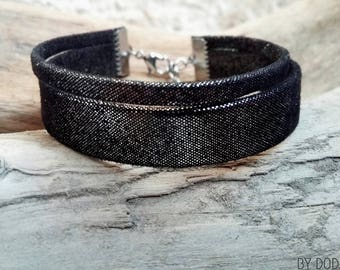 Fine Bohemian leather 1 bracelet  metallized blue link jewelry By Dodie