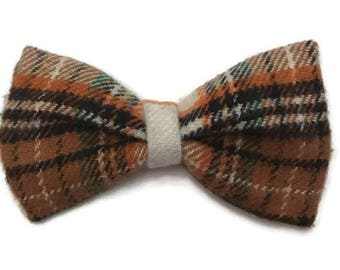 Boys plaid bow tie, orange and brown plaid bow tie, fall bow tie, halloween bow tie, plaid bow tie, preppy toddler, photo prop bow tie