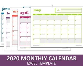 Easy Event Calendar - 2020 | Printable Excel Calendar Template | Monthly Calendar | Instant Digital Download