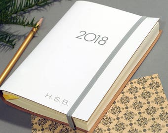 Personalised Recycled Leather Midi Diary/Planner 2018 *FREE Initials*