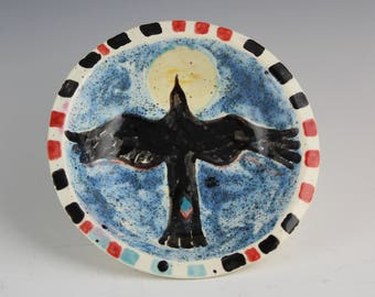 Raven Ceramic Dish, Crow Blackbird in Moonlight Hand Painted by Arizona artist, Karlene Voepel.  Sold individually.