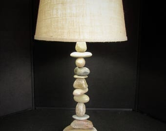 "Tall Rock Lamp (27"" tall) with Round Lamp Shade, Stacked Stone Cairn Lamp"