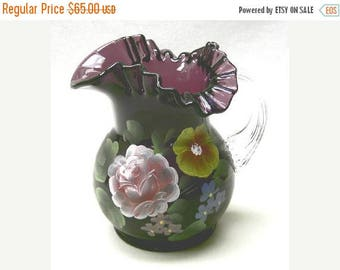 Summer Sale Ruffled Pitcher Hand Painted on Amethyst Glass