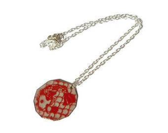 Asian Japanese koi carp necklace made of enameled copper