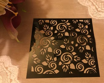 For crafting fine stencil painting Model circle leaf flowers