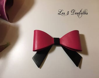 Leather brooch pin-up bow * 3 lace *.