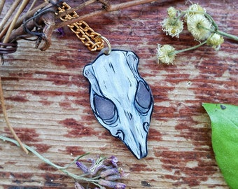 Rat Skull Rodent Oddity Hand Painted Pendant Necklace Wiccan Pagan Magick Inspired With Golden Chain