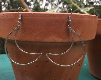 Small Nickel Moon Earrings