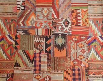Kilim Upholstery Fabric, Patchwork Design Ethnic Fabric, Aztec Navajo, Furnishing Pillow Fabric, Fat Quarter, Half Yard/Metre,  Int-001