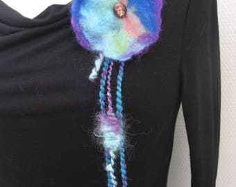 """""""tender thoughts"""" hand spun and felted wool brooch"""