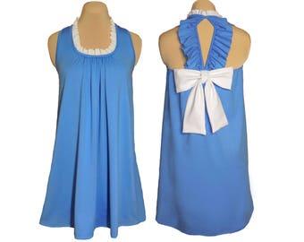 Light Blue + White Back Bow Dress