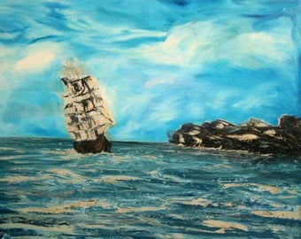 1998 European art oil painting marine seascape signed