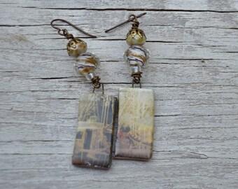 Art bead earrings - Scorched Earth - DayLilyStudio