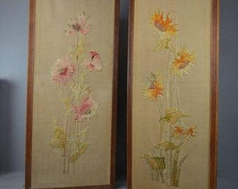 Pair Antique Oak Framed Embroidered Floral Wall Panels