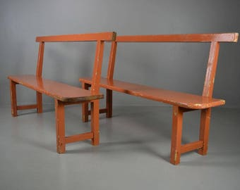 Pair Rustic Vintage Painted Pine Kitchen Hall Benches
