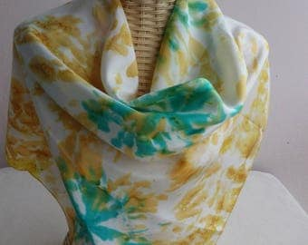 Yellow Gold and green @evysoie designer silk scarf