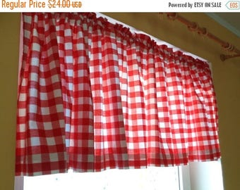 """20% OFF Vintage Valance 20"""" x 100"""" Long Gingham Cotton Valance; Red & White Gingham Rod Pocket Valance; Cottage Chic Curtains; Rustic Home D"""