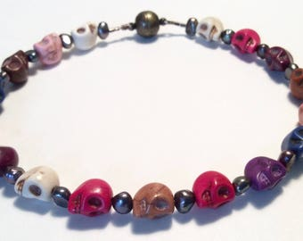 Skull collar, pearl collar, cat collar, small dog collar, beaded collar