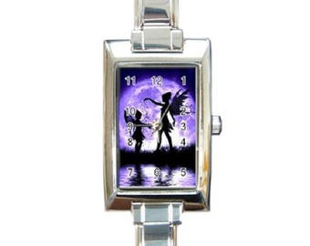 Purple Fairy -- Rectangle Italian Charm Watch