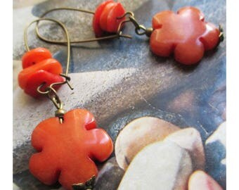 "Earrings ""Pearl flower jade and coral orange beads"" on bronze metal"