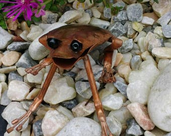 Copper frog sculpture