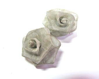 FLOWER PINK NET OF EXTRA FINE 28 MM CLEAR SILVER METAL BUTTON