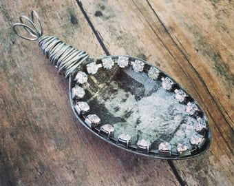 Altered Art Pendant, Silver Spoon, Shabby Chic Jewelry, Spoon Pendant, Vintage Spoon, Silver Slider, Steampunk Jewelry, Wire Wrapped Pendant