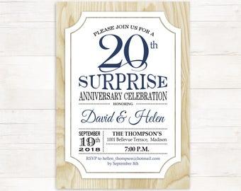Surprise Wedding Anniversary Invitation Surprise 50th