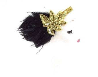 Black Gold Feather Headband 1920s Flapper Headpiece Great Gatsby Vintage 3074