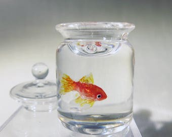 Miniature goldfish in a candy jar 1:12 scale